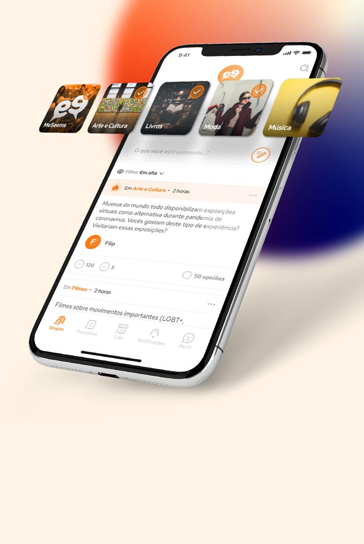 Imagem da tela do aplicativo do painel de respondentes MeSeems